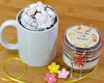Mini mug cake jar for baby shower or new Mum, Sweet treat for new mum, new baby gift for Mum, Supermums treat, Supermum present, Mums cake,