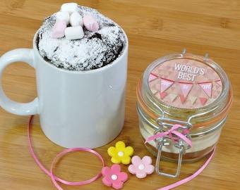 Mini mug cake jar for Worlds Best Mum!, Sweet treat for Mothers Day, Mums birthday present, Small gift for mum, Thankyou Mum gift,
