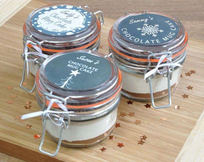 Christmas table favours, stocking filler sweet treats, personalised cake at Christmas, Scandi-inspired baking gift, Xmas chocolate mug cake
