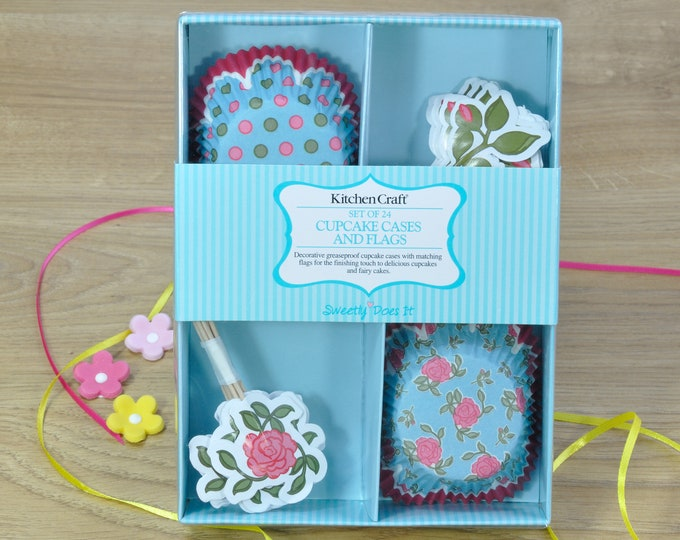 Set of 24 Flowery Cupcake Cases & Flag Cake Toppers