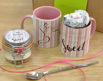 Teacher life in your class was sweet pink and white striped mug cake kit!