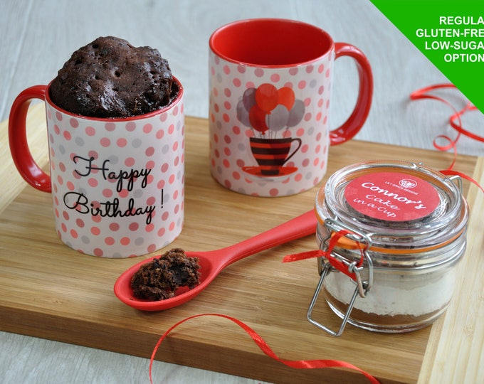 VEGAN cake gift, Baking Kit, Happy birthday,  mug cake kit, VEGAN birthday for him, VEGAN birthday gift her, microwave cake, chocoholic