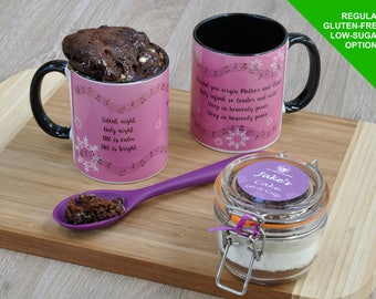 Christmas cake in a cup kit, Christmas carols, Silent Night mug, Christmas mug cake kit, Silent Night, Holy Night, Chocolate cake for Xmas