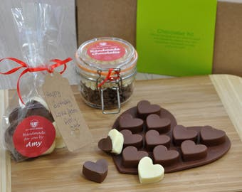 child's birthday, heart shaped chocs, personalised with maker's name for making own, chocolate mold, Valentine chocs, Valentines gift