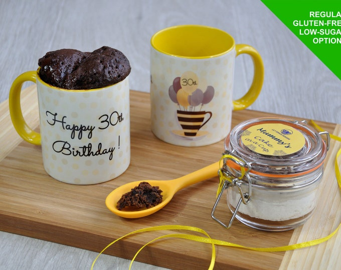 30th Birthday Mug Cake Gift with Regular Recipe or Options for Vegans, Dairy-Free & Gluten-Free