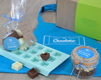 Personalized blue chocolate making kit with apron!