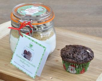 Personalised Xmas, Christmas Santa's muffin mix, quad choc muffin mix, four choc cake, Xmas baking gift, Santa's muffins, Kilner baking kit