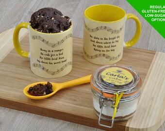Away in a Manger, Christmas carol gift, Christmas carols, Choc cake gift, cake in a cup kit, mug cake kit, Kilner jar, unique Christmas gift