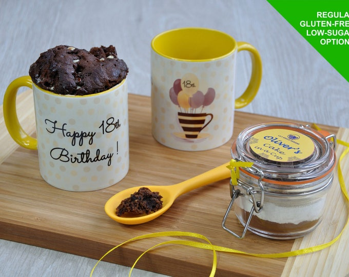 18th birthday gift, happy 18th birthday, 18th birthday cake, birthday mug cake kit, 18th birthday mug, unusual 18th gift, personalised 18