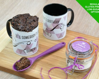 Mug cake kit, baking kit, gift for him, gift for her, sweet treat, sweet tooth, cake lover, cake treat, cake jar, instant choc cake, mug gi