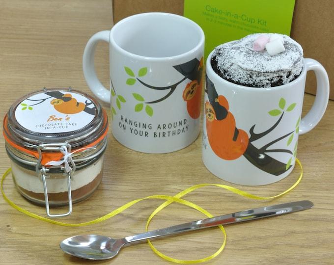 Sloth Lover's Birthday Mug Cake Gift Set with Regular, Vegan, Low-Sugar, Gluten-Free or Dairy-Free Recipe