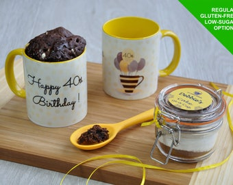 Happy 40th Birthday Chocolate Mug Cake Gift Set with Personalisation. Vegan, Dairy-Free & Gluten-Free Options.