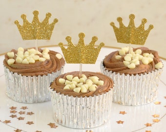 Pack of 12 Double Sided Crown Cup Cake Flags in Gold Glitter