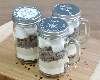 Christmas table favours, stocking filler sweet treats, personalised Kilner jar Christmas, Scandi-inspired Mason jar, Xmas chocolate mug cake