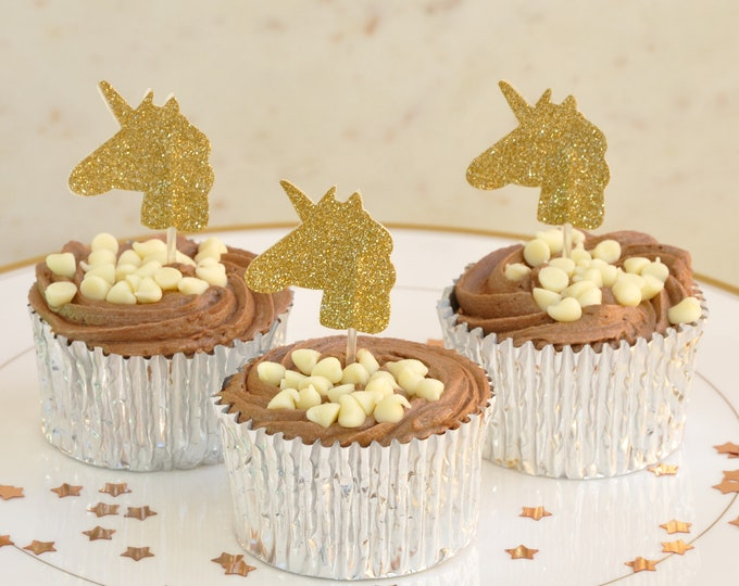 Unicorn Cup Cake Toppers in Gold Glitter, Pack of 12