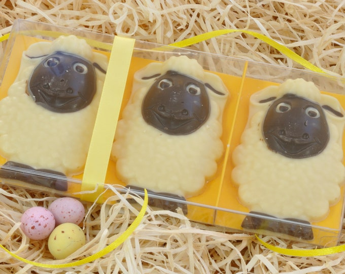 Easter Chocolate Spring Lambs Handmade from Quality Belgian Chocolate - Boxed set of 3