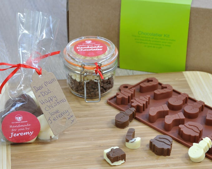 Kids Xmas activity, Christmas chocs gift, chocolatier, family childrens Xmas chocs, make with mum, choc making kit, make your own Xmas,