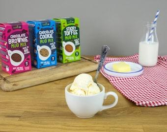 Decadent Mug Cake, Mug Cookie & Mug Pudding Mixes!