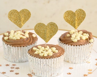 Pack of 12 Double Sided Heart Cup Cake Toppers in Gold Glitter