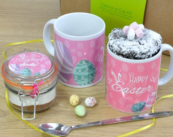 Happy Easter Chocolate Mug Cake Gift Set with Name of Your Choice