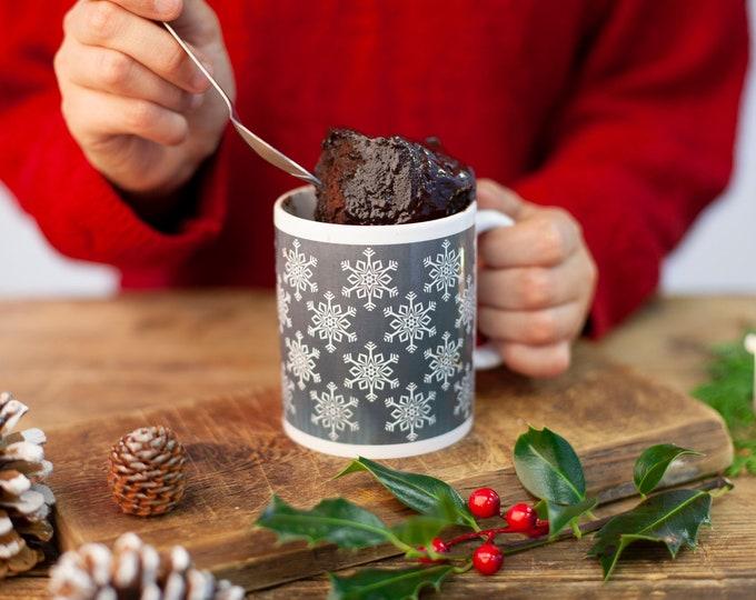 Snowflakes mug, Christmas cake gift, Christmas baking set, Choc cake gift, cake in a cup kit, mug cake kit, unique Christmas gift for her