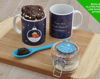 Christmas Eve box mug, Xmas mug cake sweet treat, Xmas Eve treat, Christmas cake, Xmas baking gift, Christmas sister child, Personalised Xma
