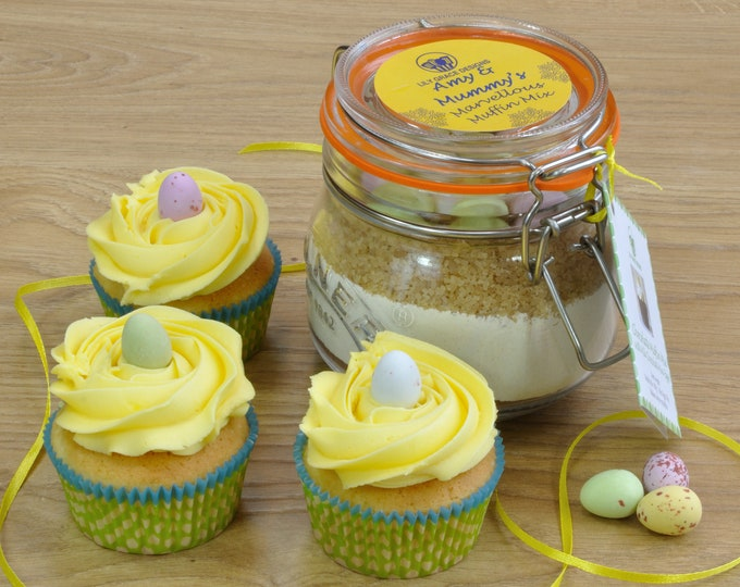 Easter Chocolate Muffin Mix Jar complete with chocolate mini eggs and personalisation!