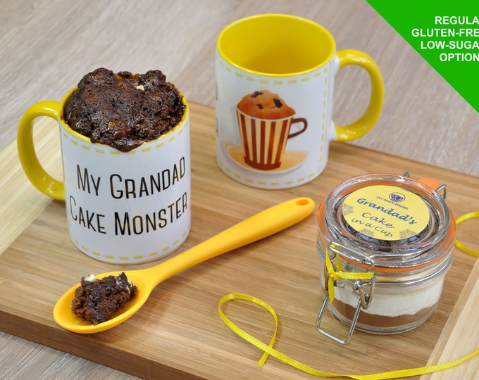 Grandads birthday gift, grandad mug, mug cake kit, Fathers day gift for grandad, chocolate cake mix, cake-in-a-cup, Kilner jar, Grandpa