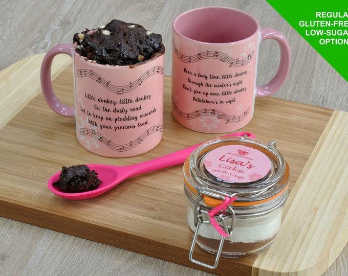 Little Donkey mug cake kit for Christmas, Christmas carol mug, Christmas carols, Little Donkey mug, choc cake for Christmas, mug cake kit,