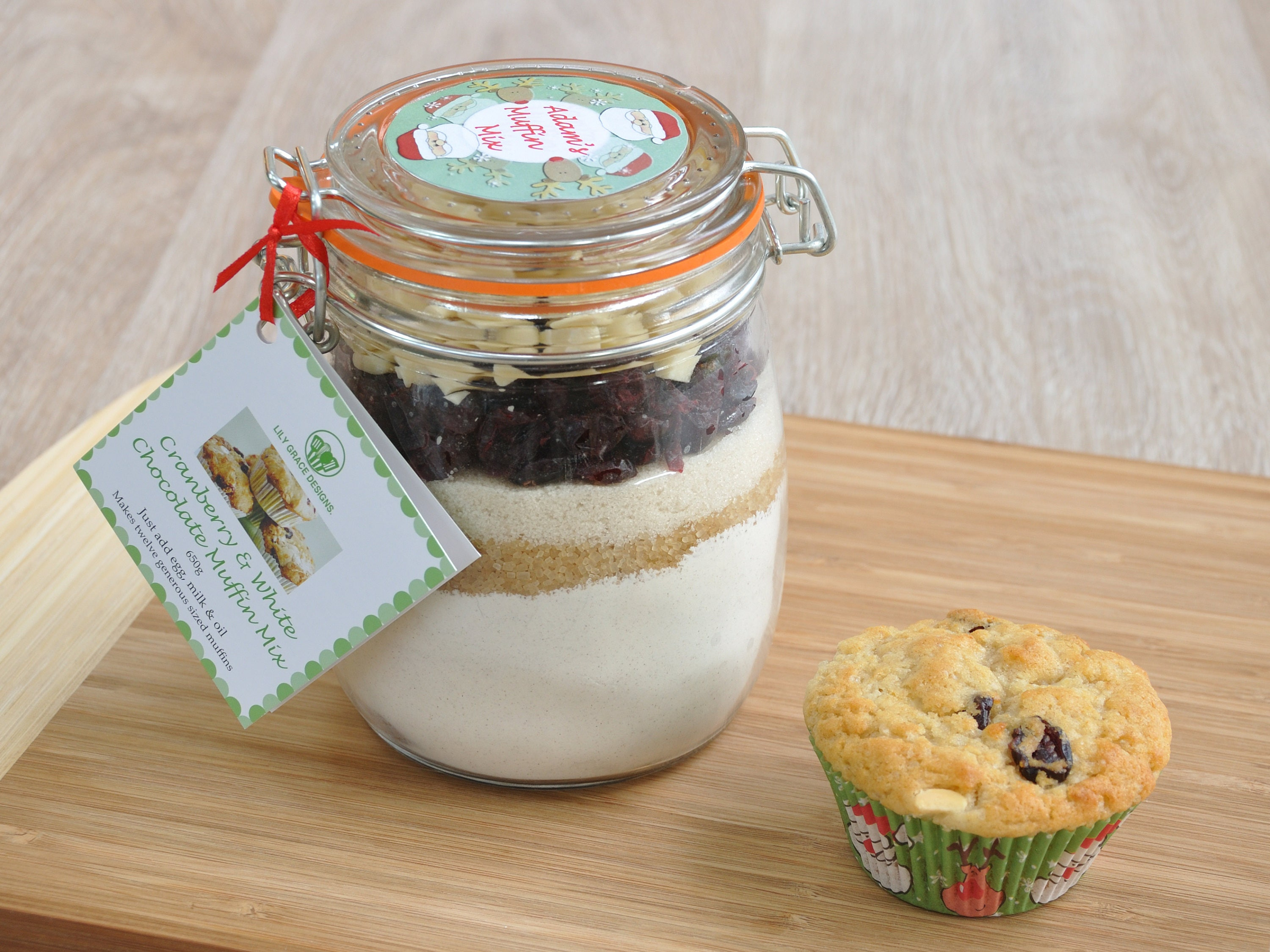 Personalised Xmas muffin mix, cranberry and white chocolate, Xmas ...