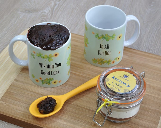 Good Luck mug gift, personalised mug cake kit, wish you luck, retirement, off to uni, moving, gap year, colleague leaving work present
