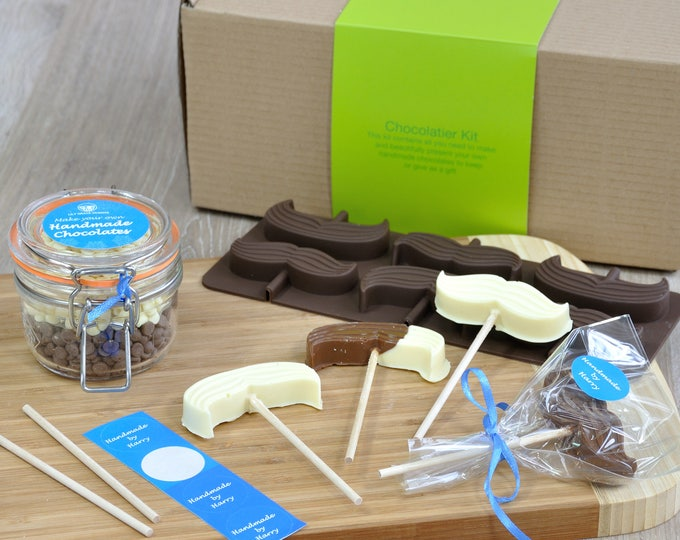 Chocolates For Dad, Moustache Lollipops Kit gift, Celebrate Movember success gift, Chocolates for Grandad, Movember treat, Moustache wearer