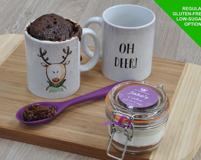 Reindeer gift Xmas mug, Rudolf present mug, Christmas mug cake, Sweet Christmas gift, Sweet tooth present, Cake lovers gift, choc lover