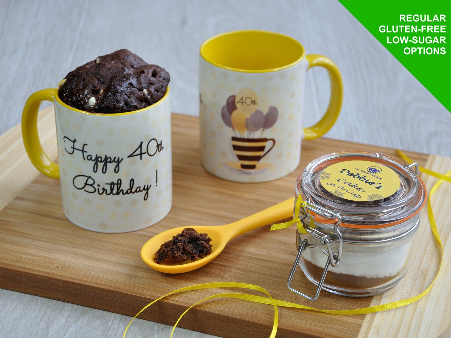 Happy 40th Birthday Chocolate Mug Cake Gift Set With