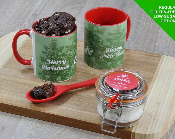 Christmas cake, chocolate cake christmas gift, Xmas cake kit, Xmas baking kit, cake in a cup kit for Christmas, Christmas trees, choc cake