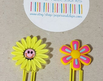 1 Yellow Flower Paper Clip or Bookmark PVC