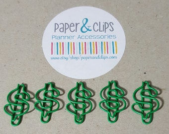 1 Dollar Sign Paper Clip or Bookmark