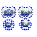 Buffalo Plaid Blue Truck Christmas Round and Benelux Ornament Sublimation Graphics designs download, png, template, Merry Christmas, bundle