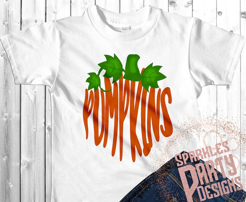 Word Art Fall Pumpkins Sublimation Graphics Designs Download image 0