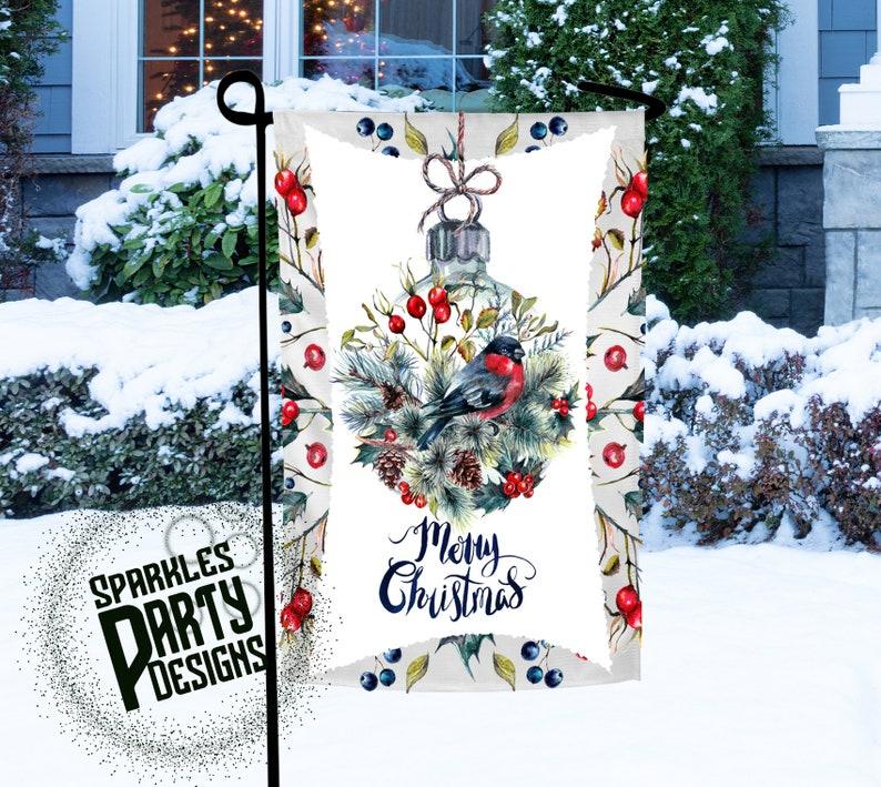 Christmas Ornament Bird Winter Garden Flag Sublimation image 0