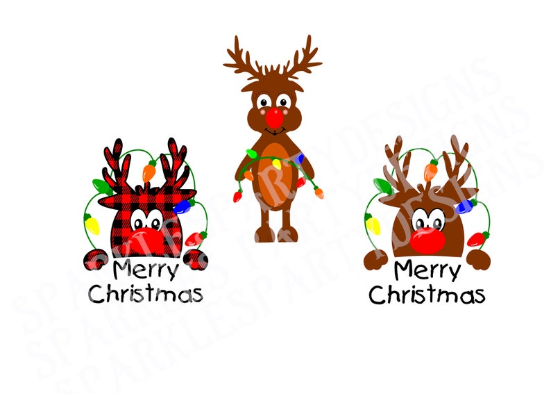Buffalo Plaid Reindeer Head with Christmas Lights Sublimation image 0