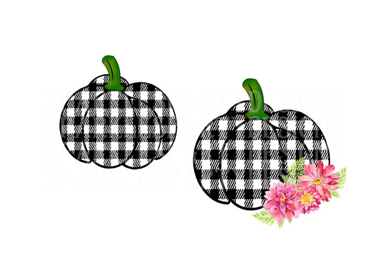 Two Buffalo Plaid Pumpkin with flowers Sublimation Graphics image 0