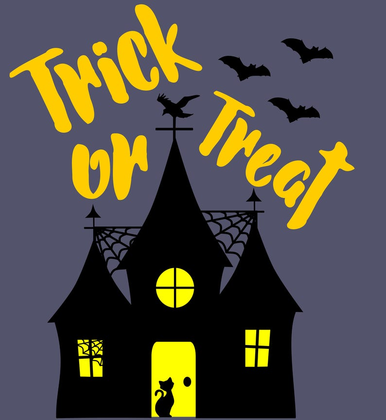 Halloween Spooky House.Halloween Svg Svg Cut File Halloween Spooky House Trick Or Treat Bats Halloween Tshirt Or Tote Silhouette Scrapbooking Dxf Clipart