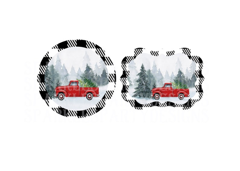 Plain Buffalo Plaid Red Truck Christmas Round and Benelux image 0
