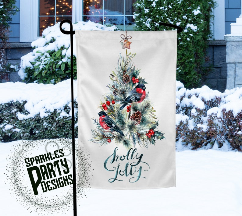 Christmas Tree with  Birds Winter Garden Flag Sublimation image 0