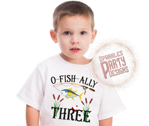 Third Birthday Shirt O-Fish-ally Three Toddler Birthday Shirt
