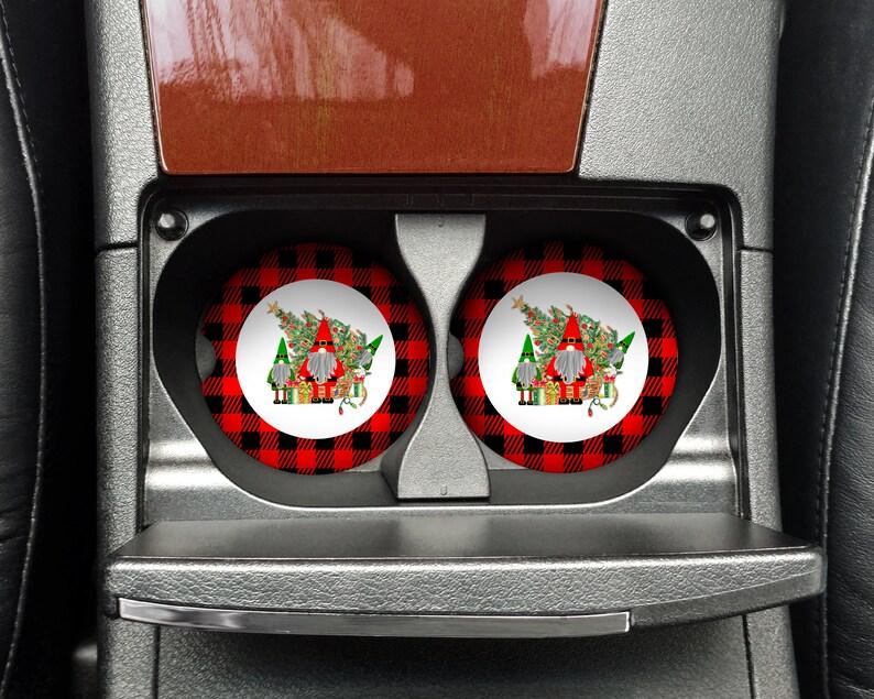 Buffalo Plaid Christmas Santa Gnomes round coaster sublimation image 0