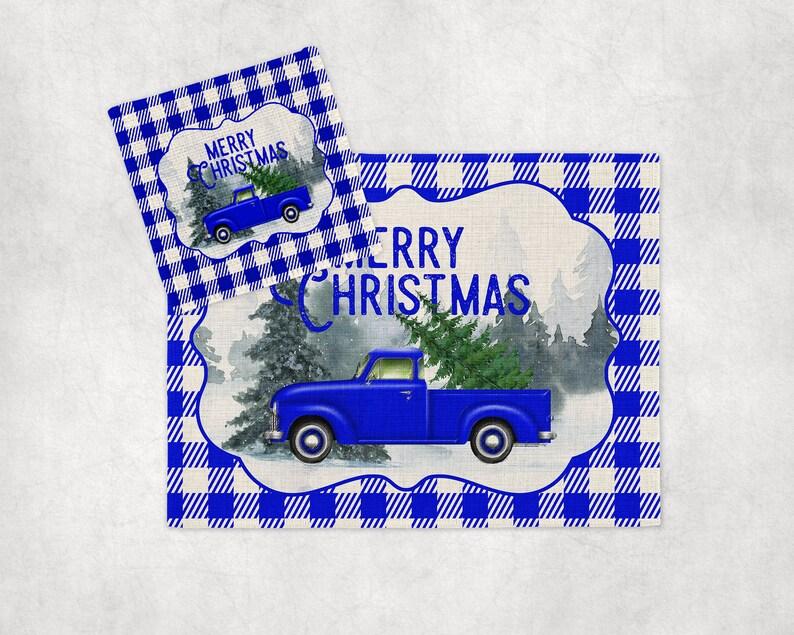 Buffalo Plaid Blue Truck Christmas Place mats Coasters image 0