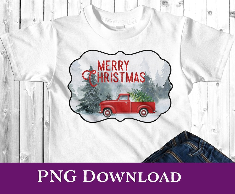 Winter Red Truck Pine Trees Snow Scene Pillow or Shirt image 0