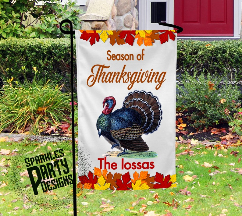 Fall Leaves Thanksgiving Garden Flag Graphics Designs image 0